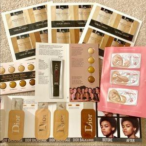 32 foundation samples, 5 brands huda, Armani, Dior
